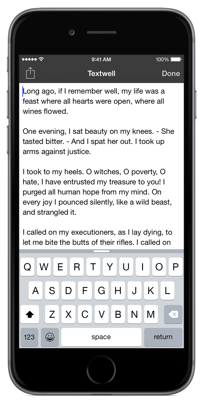 Textwell on iPhone
